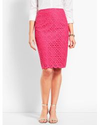 Talbots - Pink Scallop Pencil Skirt - Lyst
