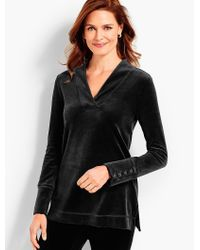 Talbots - Black Luxe Velour V-neck Top - Lyst