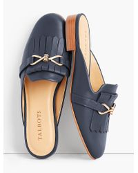 Talbots - Blue Cassidy Fringed Mules - Lyst