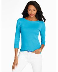 Talbots | Blue Pima Cotton Bateau Neck Tee | Lyst