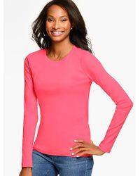 Talbots | Pink Pima Cotton Long-sleeve Crewneck Tee-the Tee | Lyst