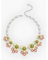 Talbots | Metallic Flower & Gem Cluster Necklace | Lyst