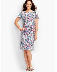 Talbots | Blue Scalloped Cotton Shift Dress-shoreline Paisley | Lyst