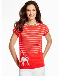 Talbots | Red Stripes & Monkey Sweater | Lyst