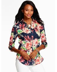 Talbots - Multicolor Summer-light Cotton Shirt - Tropical Flowers - Lyst
