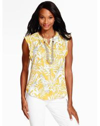 Talbots - Yellow Flutter-sleeve Blouse - Breezy Palms - Lyst