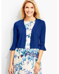 Talbots - Blue Flounced-sleeve Dress Shrug - Lyst