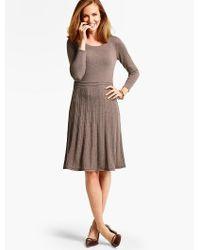 Talbots | Brown Merino Wool Pleated Sweater Dress | Lyst