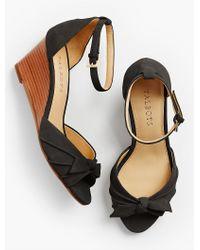 Talbots | Black Vivian Bow Ankle-strap Wedges | Lyst