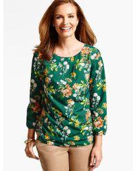 Talbots | Green Delicate Flowers Pleat-top Blouse | Lyst