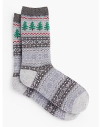 Talbots - Gray Christmas Tree Fair Isle Socks for Men - Lyst