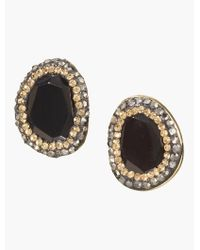 Talbots - Black Pave Bezel Cabochon Earrings - Lyst