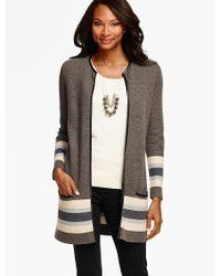 Talbots | Gray Merino-wool Border Striped Sweater Jacket | Lyst