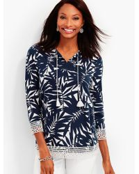 Talbots Blue Lace-trimmed Forest Fern Tunic