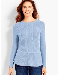 Talbots - Blue Cable Peplum Sweater - Lyst
