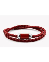 Tateossian | Montecarlo Bracelet In Red Leather With Silver And Enamel Clasp for Men | Lyst