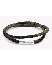 Tateossian - Pop Print Scoubidou Silver Bracelet In Brown for Men - Lyst