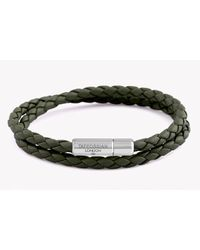Tateossian | Double Wrap Slim Pop Bracelet In Green Leather With Silver Clasp for Men | Lyst