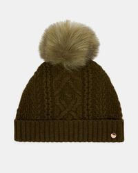 Ted Baker - Green Cable Knit Wool-blend Bobble Hat - Lyst