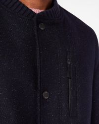 Ted Baker - Blue Baseball Collar Wool Coat for Men - Lyst