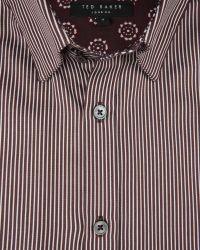 Ted Baker - Brown Satin Striped Shirt for Men - Lyst