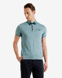 Ted Baker   Blue Color Block Oxford Polo Shirt for Men   Lyst