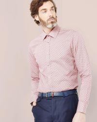 Ted Baker | Red Geo Tile Print Cotton Shirt for Men | Lyst