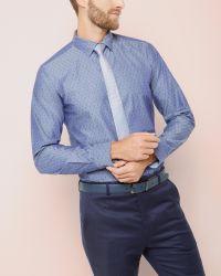 Ted Baker | Blue Jacquard Cotton Shirt for Men | Lyst