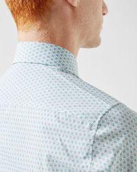 Ted Baker | Blue Geo Tile Print Cotton Shirt for Men | Lyst