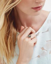 Ted Baker - White Crystal Button Ring - Lyst