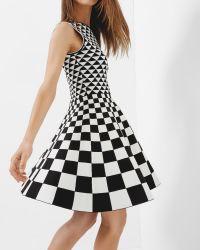 Ted Baker | Black Lowrel Monochrome Geo Skater Dress | Lyst