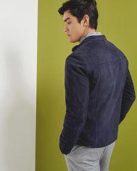 Ted Baker - Blue Suede Harrington Jacket for Men - Lyst