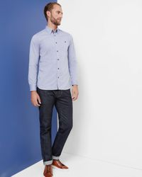 Ted Baker - Blue Cotton Oxford Shirt for Men - Lyst