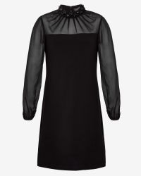Ted Baker - Black Sheer Embellished Crepe Dress - Lyst