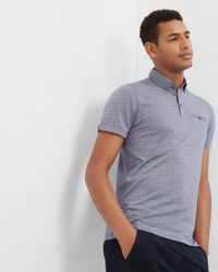 Ted Baker | Blue Woven Collar Cotton Polo Shirt for Men | Lyst