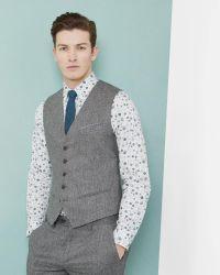 Ted Baker | Gray Semi Plain Wool Vest for Men | Lyst
