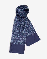 Ted Baker. Women's Blue Paisley Print Silk Scarf
