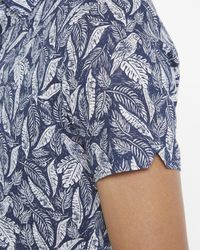 Ted Baker - Blue Leaf And Bird Print Cotton Shirt for Men - Lyst