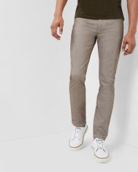 Ted Baker | Brown Slim Fit Twill Trousers for Men | Lyst