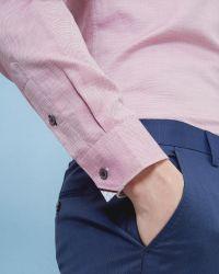 Ted Baker | Pink Mini Design Linen-blend Shirt for Men | Lyst