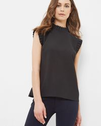 Ted Baker - Black Pleated Trim Top - Lyst