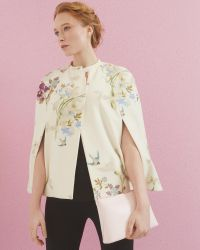 Ted Baker | White Zephir Spring Meadow Wool And Cashmere-blend Cape | Lyst