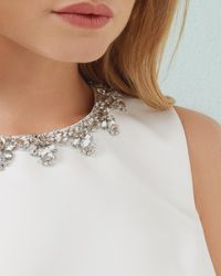 Ted Baker - White Embellished Cropped Top - Lyst