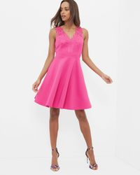 df3c3104fd Ted Baker Embroidered Lace Skater Dress in Pink - Lyst