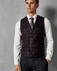 2fa395959 Ted Baker Tight Lines Check Db Waistcoat in Purple for Men - Lyst