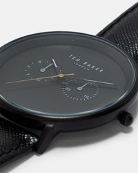 Ted Baker - Black Textured Strap Watch for Men - Lyst