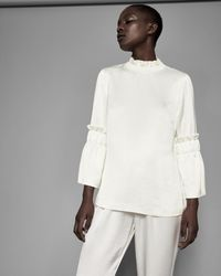 Ted Baker White Frilled Sleeve High Neck Top