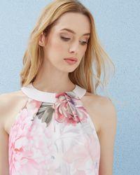 Ted Baker | Pink Painted Posie Twist Neck Top | Lyst