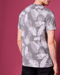 Ted Baker - Gray Leaf Print Cotton T-shirt for Men - Lyst