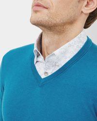 Ted Baker - Blue Silk-blend V-neck Jumper for Men - Lyst